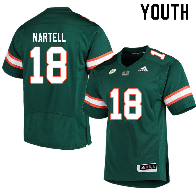 Adidas Miami Hurricanes Youth #18 Tate Martell College Football Jerseys Sale-Green
