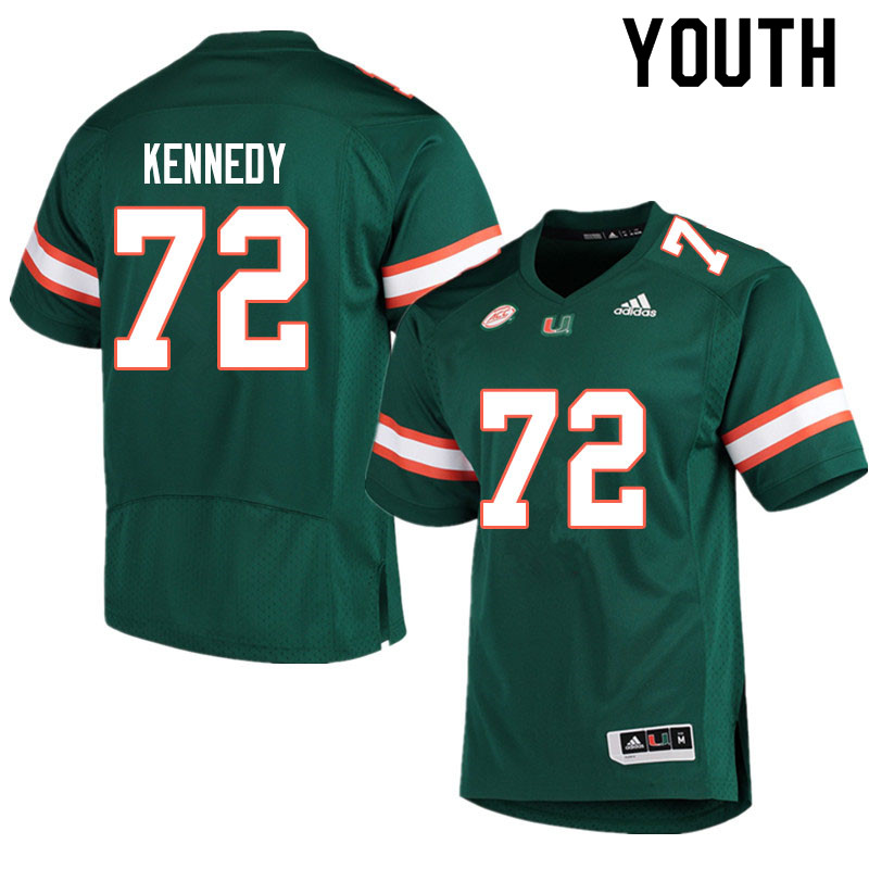 Adidas Miami Hurricanes Youth #72 Tommy Kennedy College Football Jerseys Sale-Green