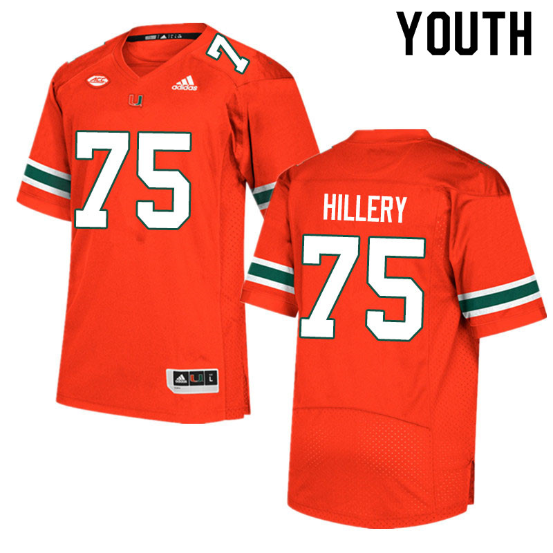 Adidas Miami Hurricanes Youth #75 Zalon'tae Hillery College Football Jerseys Sale-Orange