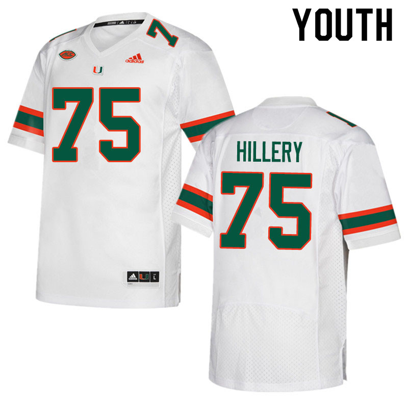 Adidas Miami Hurricanes Youth #75 Zalon'tae Hillery College Football Jerseys Sale-White