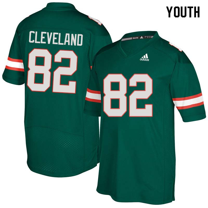Youth Miami Hurricanes #82 Asante Cleveland College Football Jerseys Sale-Green