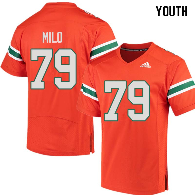 Youth Miami Hurricanes #79 Bar Milo College Football Jerseys Sale-Orange