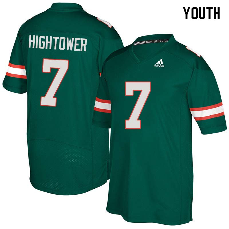 Youth Miami Hurricanes #7 Brian Hightower College Football Jerseys Sale-Green
