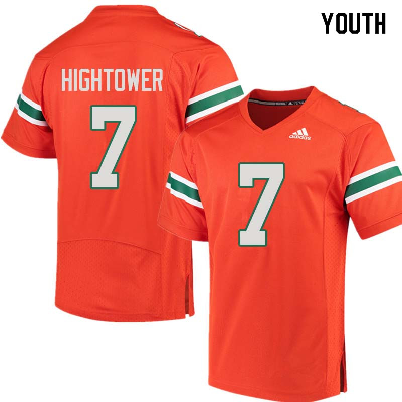 Youth Miami Hurricanes #7 Brian Hightower College Football Jerseys Sale-Orange