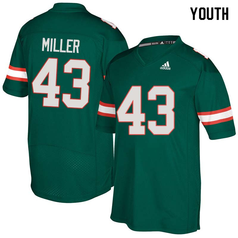 Youth Miami Hurricanes #43 Brian Miller College Football Jerseys Sale-Green