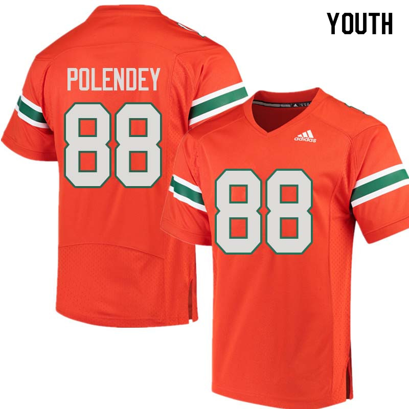 Youth Miami Hurricanes #88 Brian Polendey College Football Jerseys Sale-Orange