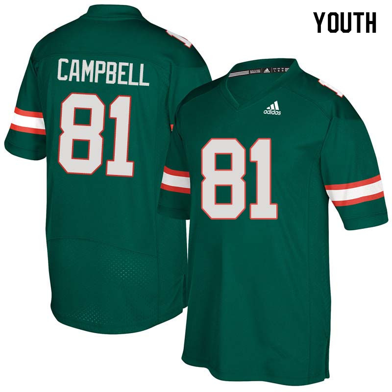 Youth Miami Hurricanes #81 Calais Campbell College Football Jerseys Sale-Green