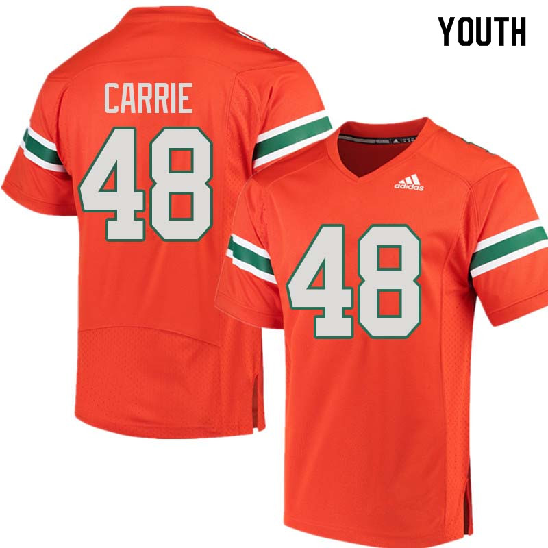 Youth Miami Hurricanes #48 Calvin Carrie College Football Jerseys Sale-Orange