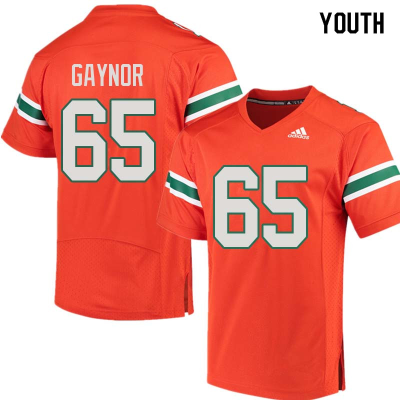 Youth Miami Hurricanes #65 Corey Gaynor College Football Jerseys Sale-Orange