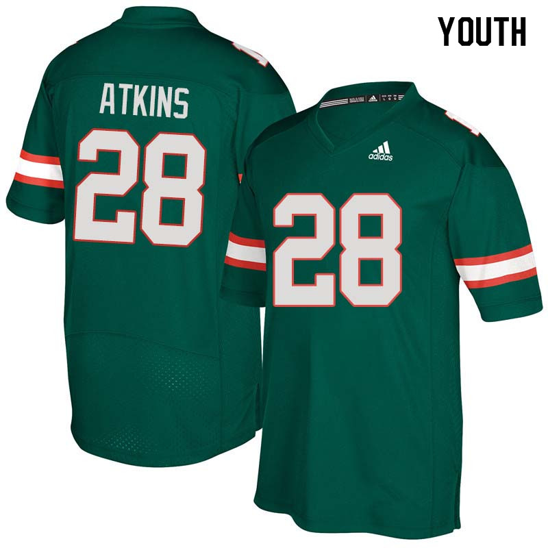 Youth Miami Hurricanes #28 Crispian Atkins College Football Jerseys Sale-Green