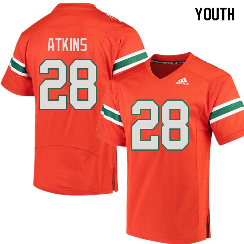 Youth Miami Hurricanes #28 Crispian Atkins College Football Jerseys Sale-Orange