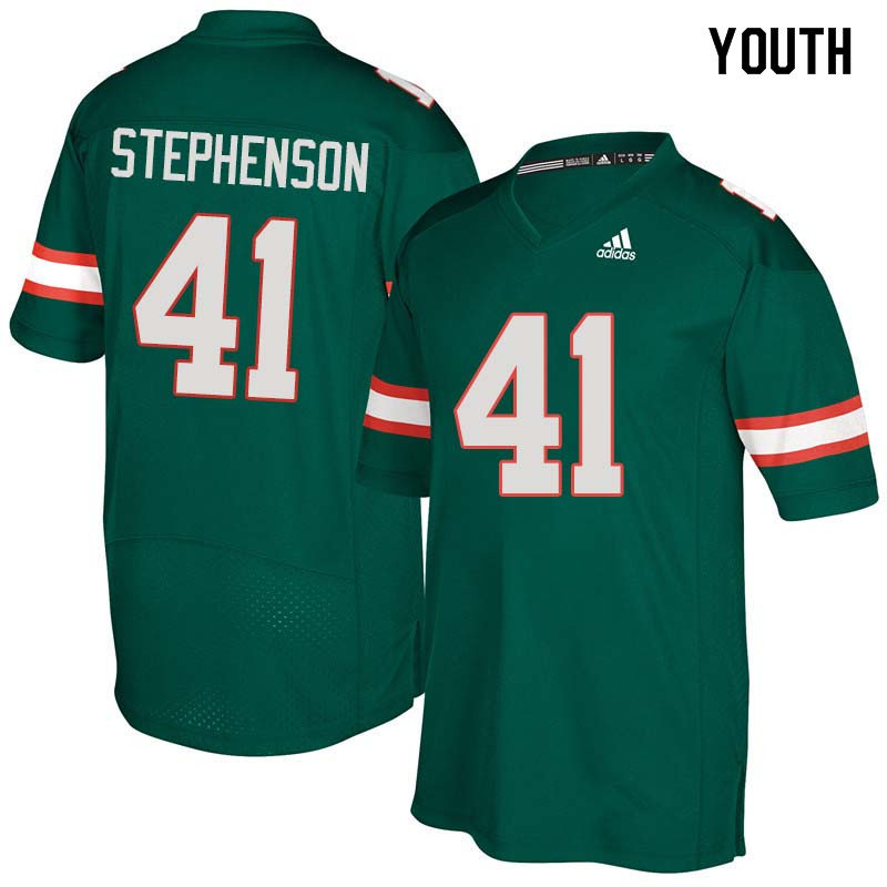 Youth Miami Hurricanes #41 Darian Stephenson College Football Jerseys Sale-Green