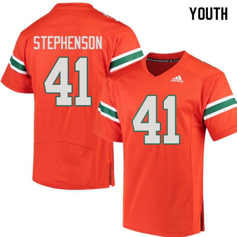 Youth Miami Hurricanes #41 Darian Stephenson College Football Jerseys Sale-Orange