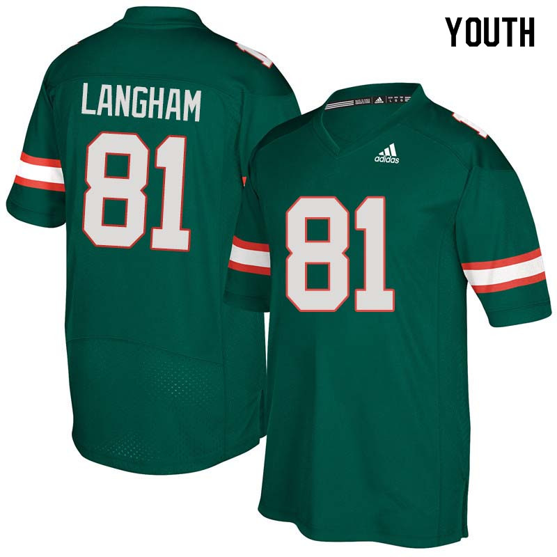 Youth Miami Hurricanes #81 Darrell Langham College Football Jerseys Sale-Green