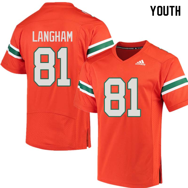 Youth Miami Hurricanes #81 Darrell Langham College Football Jerseys Sale-Orange