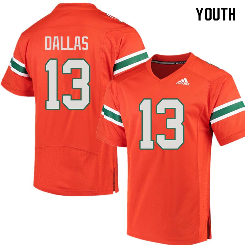 Youth Miami Hurricanes #13 DeeJay Dallas College Football Jerseys Sale-Orange
