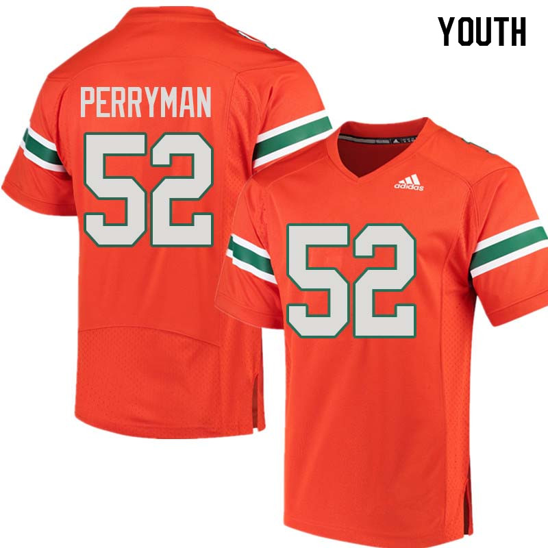 Youth Miami Hurricanes #52 Denzel Perryman College Football Jerseys Sale-Orange