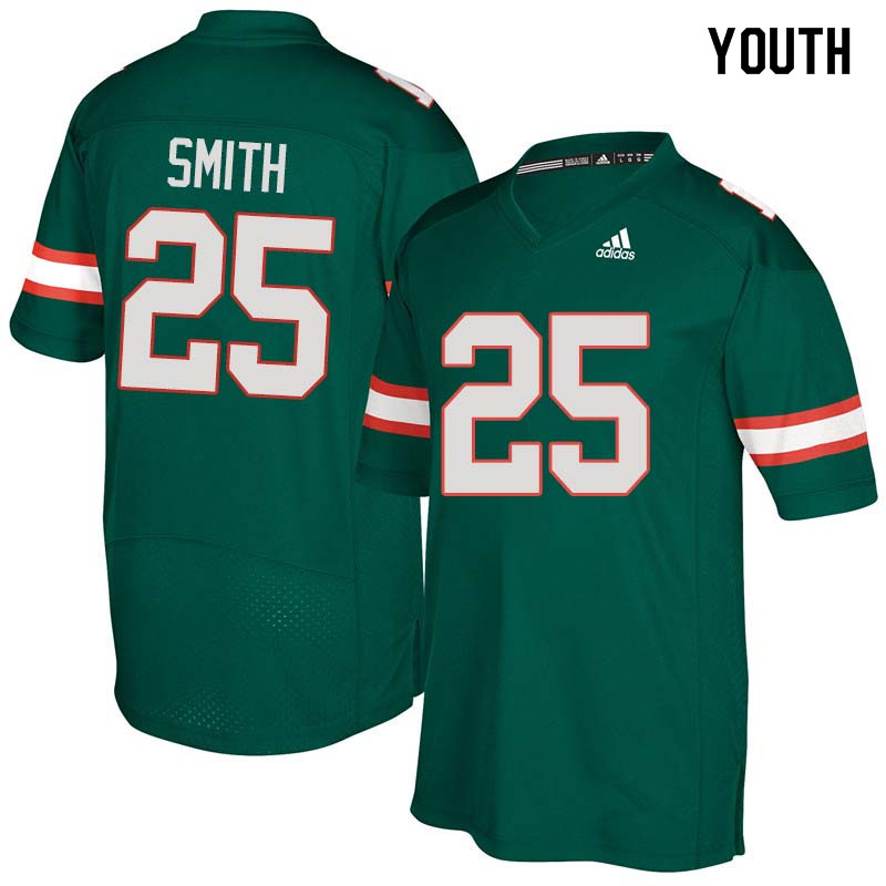 Youth Miami Hurricanes #25 Derrick Smith College Football Jerseys Sale-Green