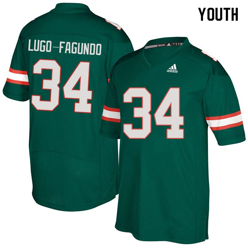 Youth Miami Hurricanes #34 Elias Lugo-Fagundo College Football Jerseys Sale-Green