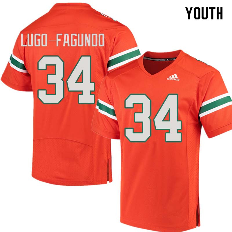 Youth Miami Hurricanes #34 Elias Lugo-Fagundo College Football Jerseys Sale-Orange