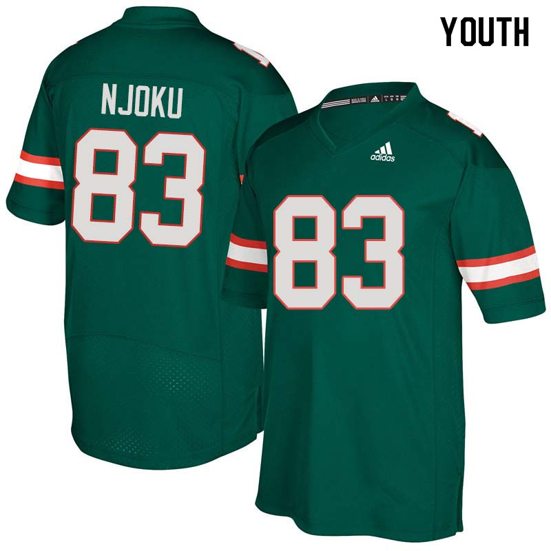 Youth Miami Hurricanes #83 Evidence Njoku College Football Jerseys Sale-Green