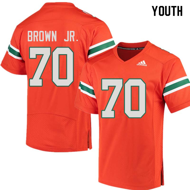 Youth Miami Hurricanes #70 George Brown Jr. College Football Jerseys Sale-Orange