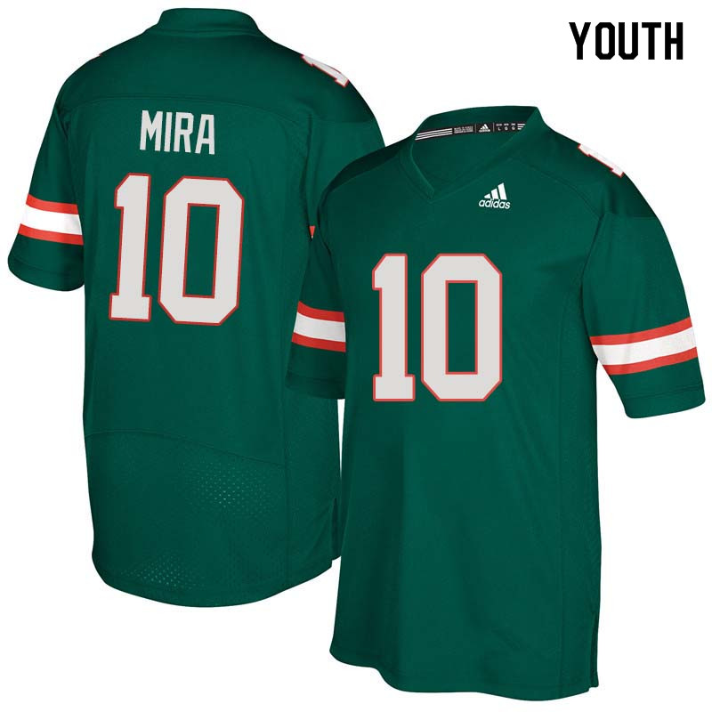 Youth Miami Hurricanes #10 George Mira College Football Jerseys Sale-Green