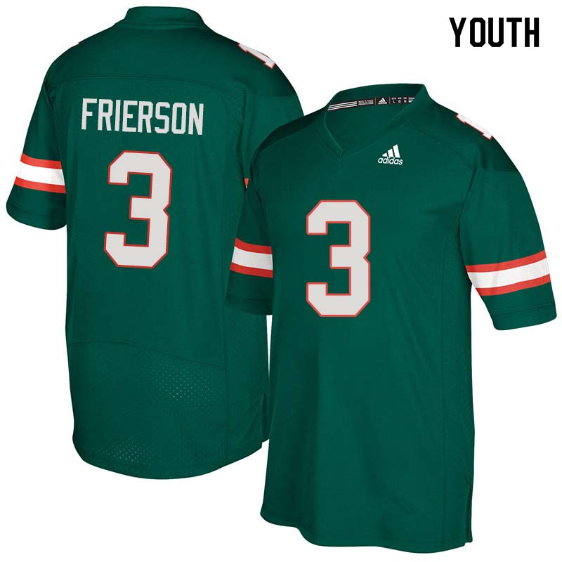 Youth Miami Hurricanes #3 Gilbert Frierson College Football Jerseys Sale-Green