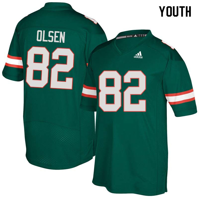 Youth Miami Hurricanes #82 Greg Olsen College Football Jerseys Sale-Green
