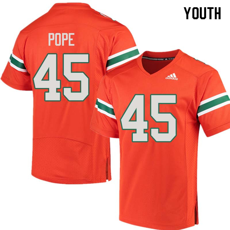 Youth Miami Hurricanes #45 Jack Pope College Football Jerseys Sale-Orange