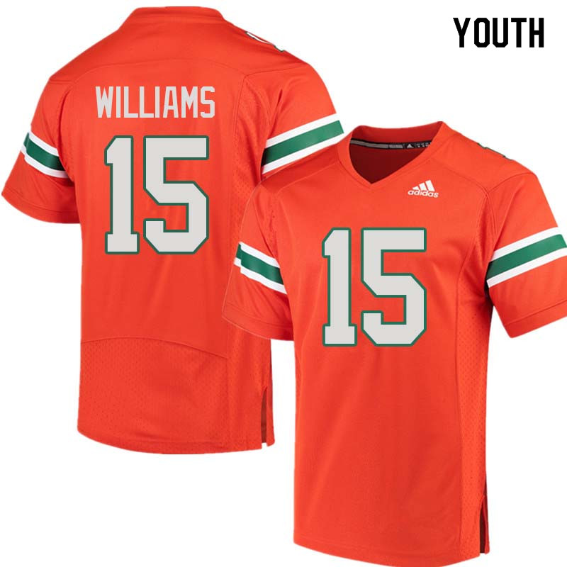 Youth Miami Hurricanes #15 Jarren Williams College Football Jerseys Sale-Orange