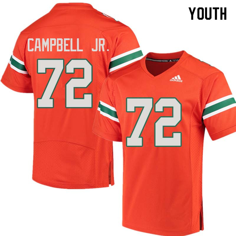 Youth Miami Hurricanes #72 John Campbell Jr. College Football Jerseys Sale-Orange