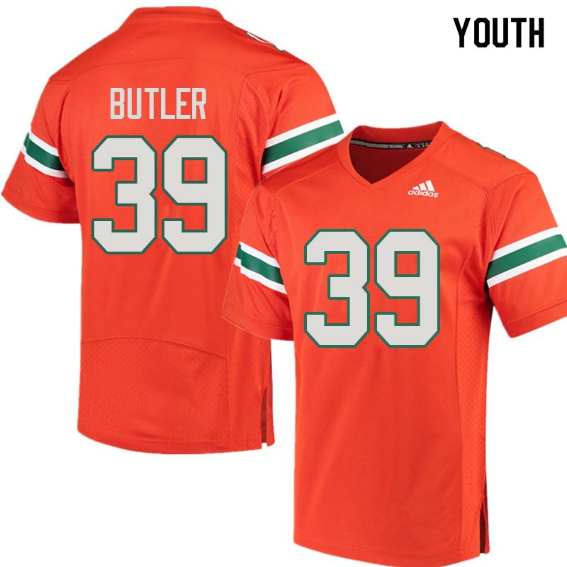 Youth Miami Hurricanes #39 Jordan Butler College Football Jerseys Sale-Orange