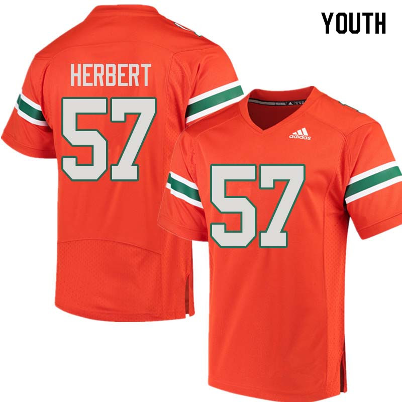 Youth Miami Hurricanes #57 Kai-Leon Herbert College Football Jerseys Sale-Orange