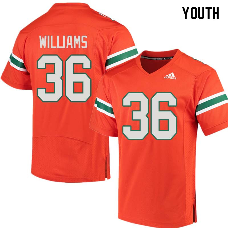 Youth Miami Hurricanes #36 Marquez Williams College Football Jerseys Sale-Orange