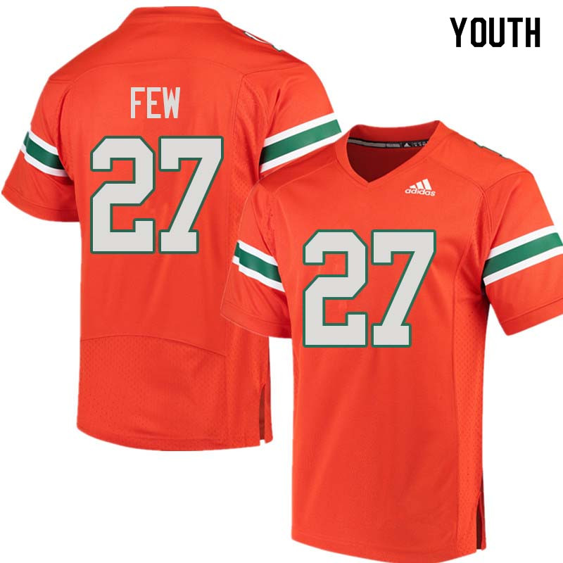 Youth Miami Hurricanes #27 Marshall Few College Football Jerseys Sale-Orange