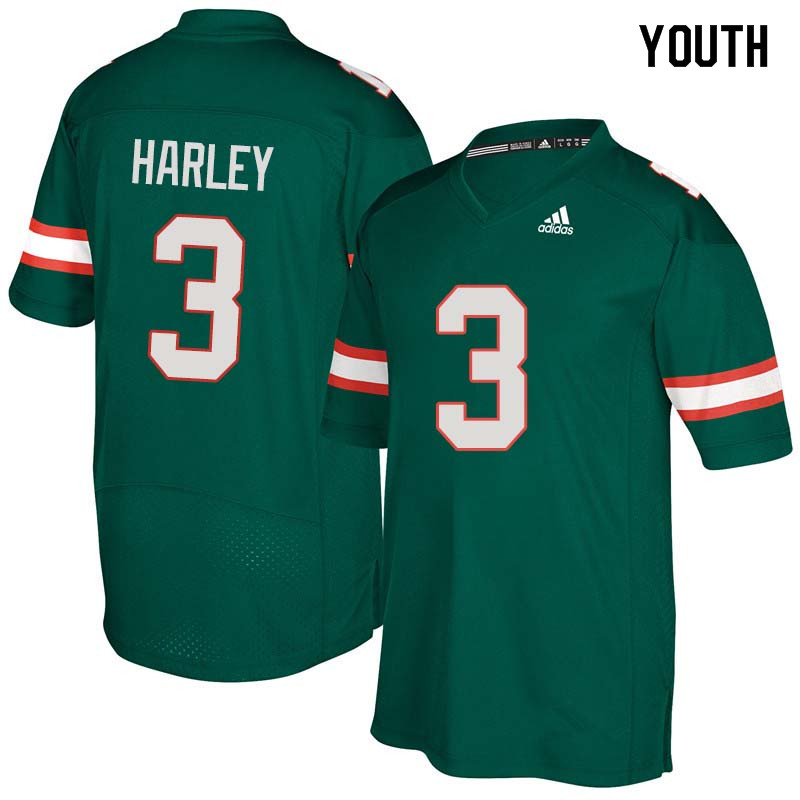 Youth Miami Hurricanes #3 Mike Harley College Football Jerseys Sale-Green