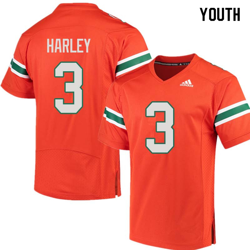 Youth Miami Hurricanes #3 Mike Harley College Football Jerseys Sale-Orange