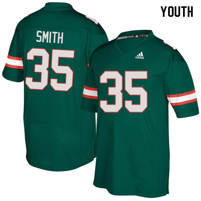 Youth Miami Hurricanes #35 Mike Smith College Football Jerseys Sale-Green