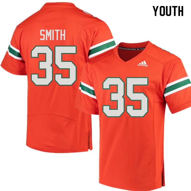 Youth Miami Hurricanes #35 Mike Smith College Football Jerseys Sale-Orange