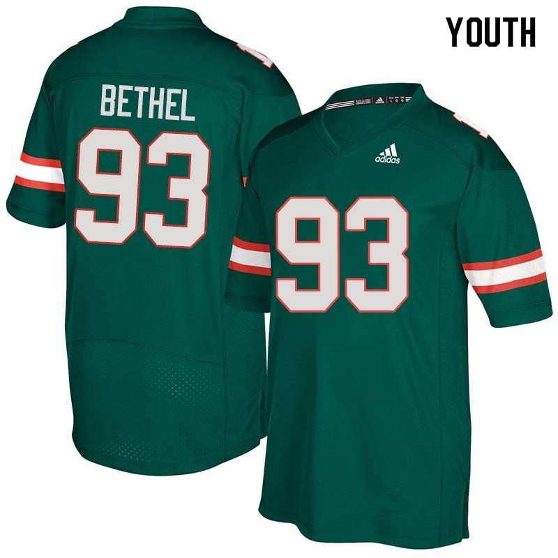 Youth Miami Hurricanes #93 Pat Bethel College Football Jerseys Sale-Green