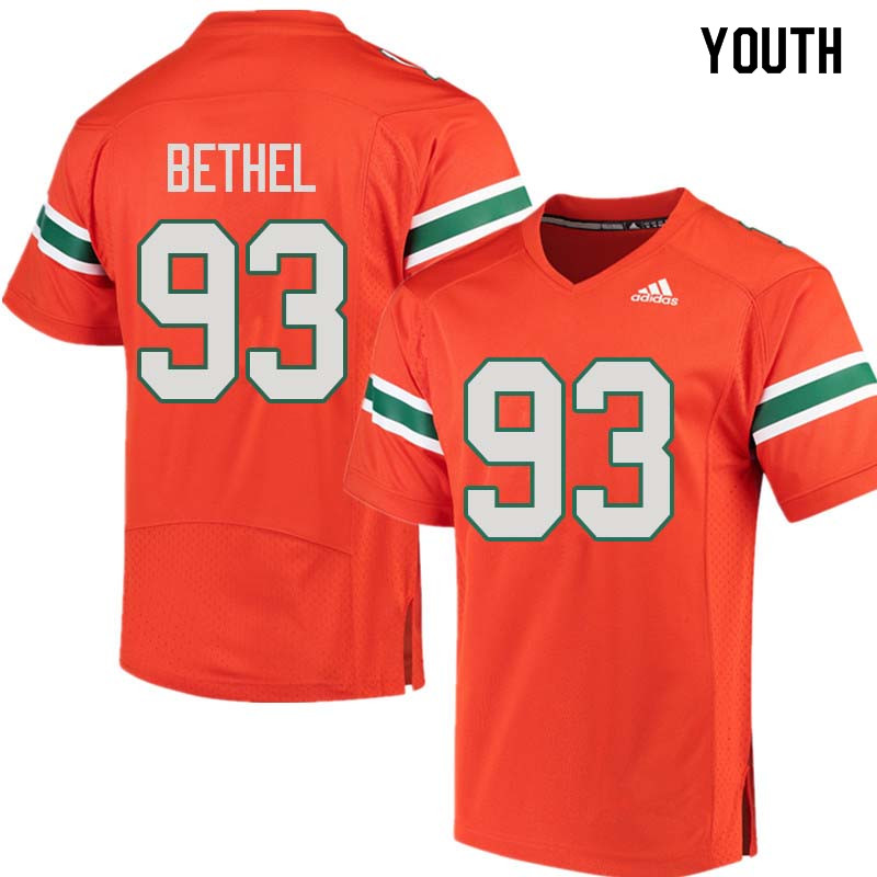 Youth Miami Hurricanes #93 Pat Bethel College Football Jerseys Sale-Orange
