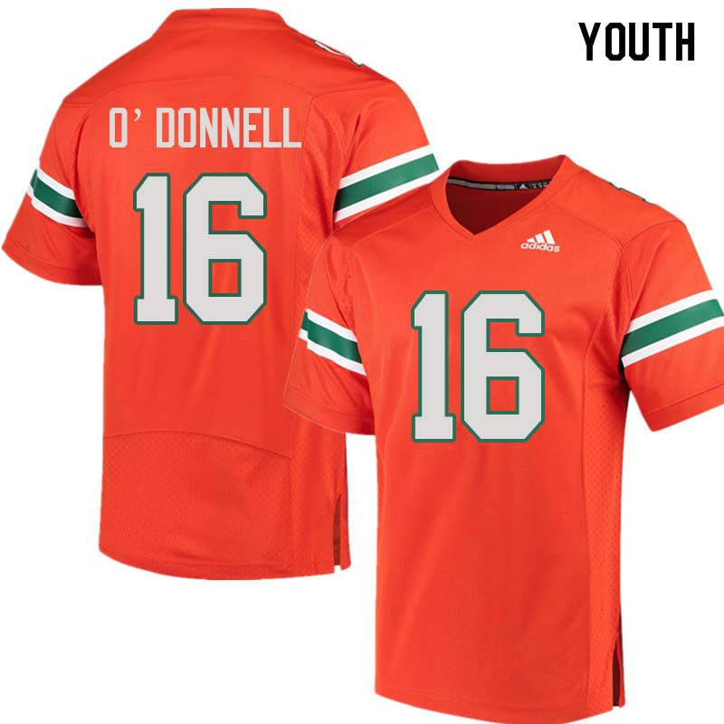 Youth Miami Hurricanes #16 Pat O'Donnell College Football Jerseys Sale-Orange