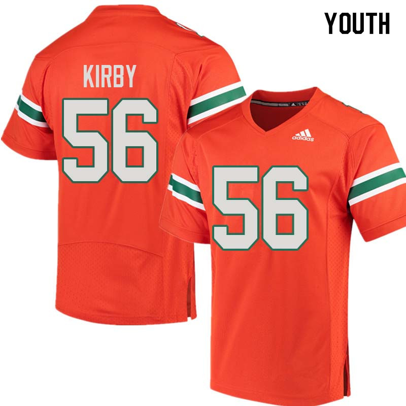 Youth Miami Hurricanes #56 Raphael Kirby College Football Jerseys Sale-Orange
