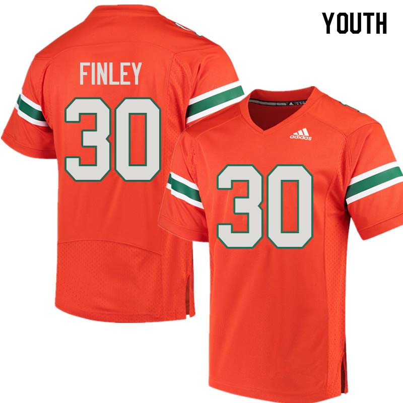 Youth Miami Hurricanes #30 Romeo Finley College Football Jerseys Sale-Orange