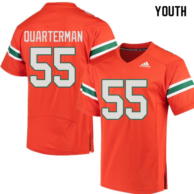 Youth Miami Hurricanes #55 Shaquille Quarterman College Football Jerseys Sale-Orange