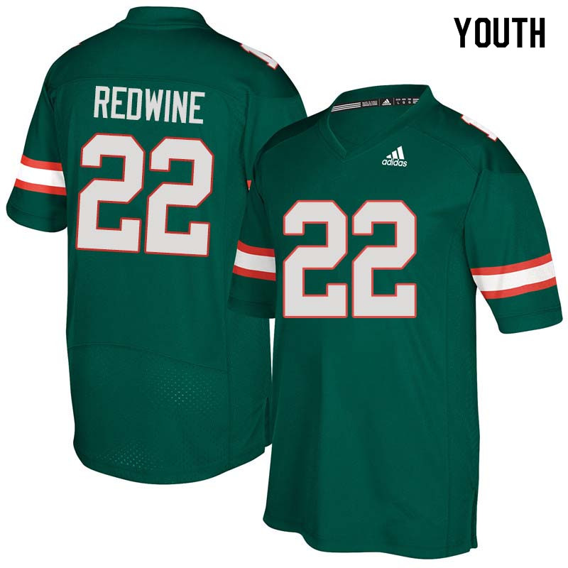 Youth Miami Hurricanes #22 Sheldrick Redwine College Football Jerseys Sale-Green