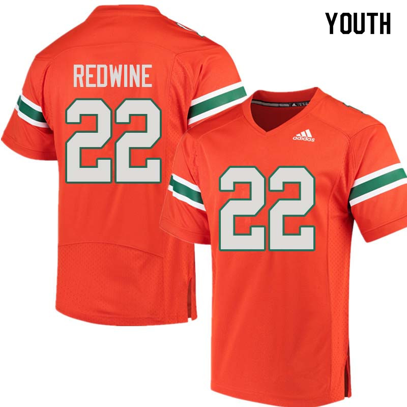 Youth Miami Hurricanes #22 Sheldrick Redwine College Football Jerseys Sale-Orange