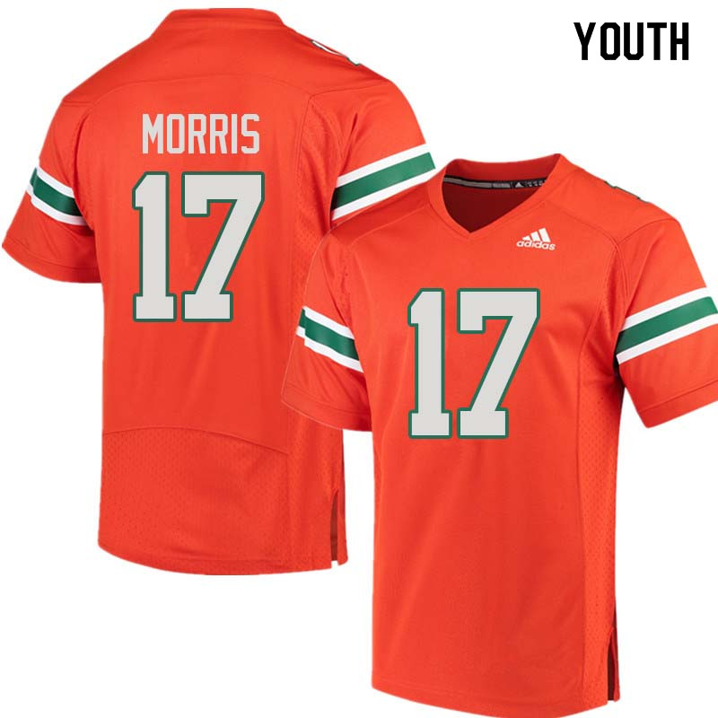 Youth Miami Hurricanes #17 Stephen Morris College Football Jerseys Sale-Orange