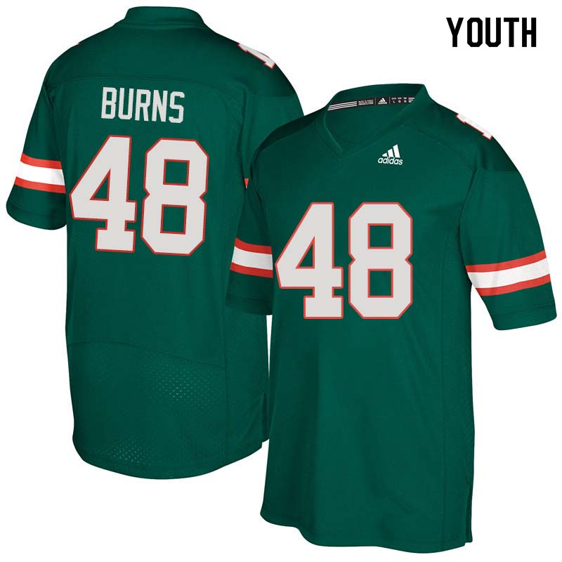 Youth Miami Hurricanes #48 Thomas Burns College Football Jerseys Sale-Green